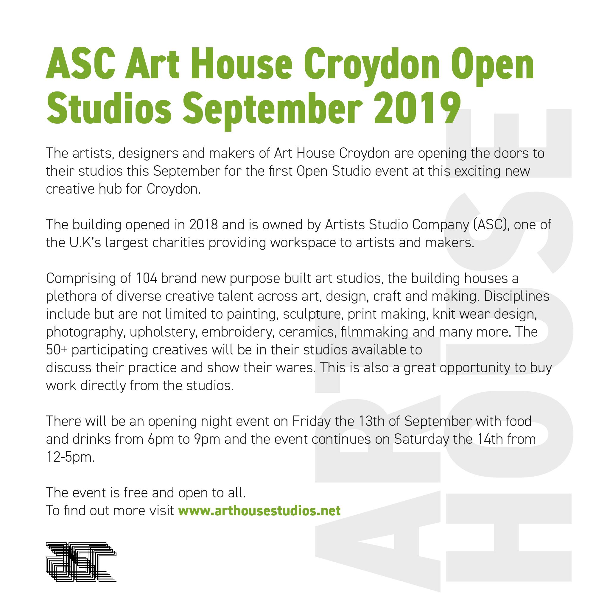 ASC Studios Art House Croydon 2019