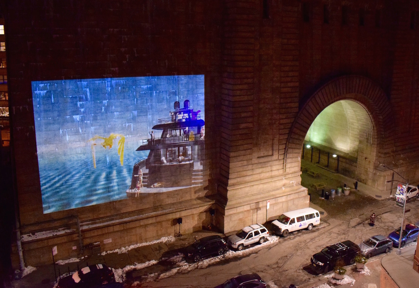 Light Year, Manhattan Bridge, public video art projection