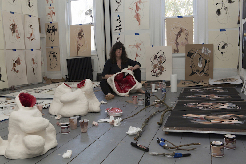Artist, Santina Amato in her ChaNorth studio,