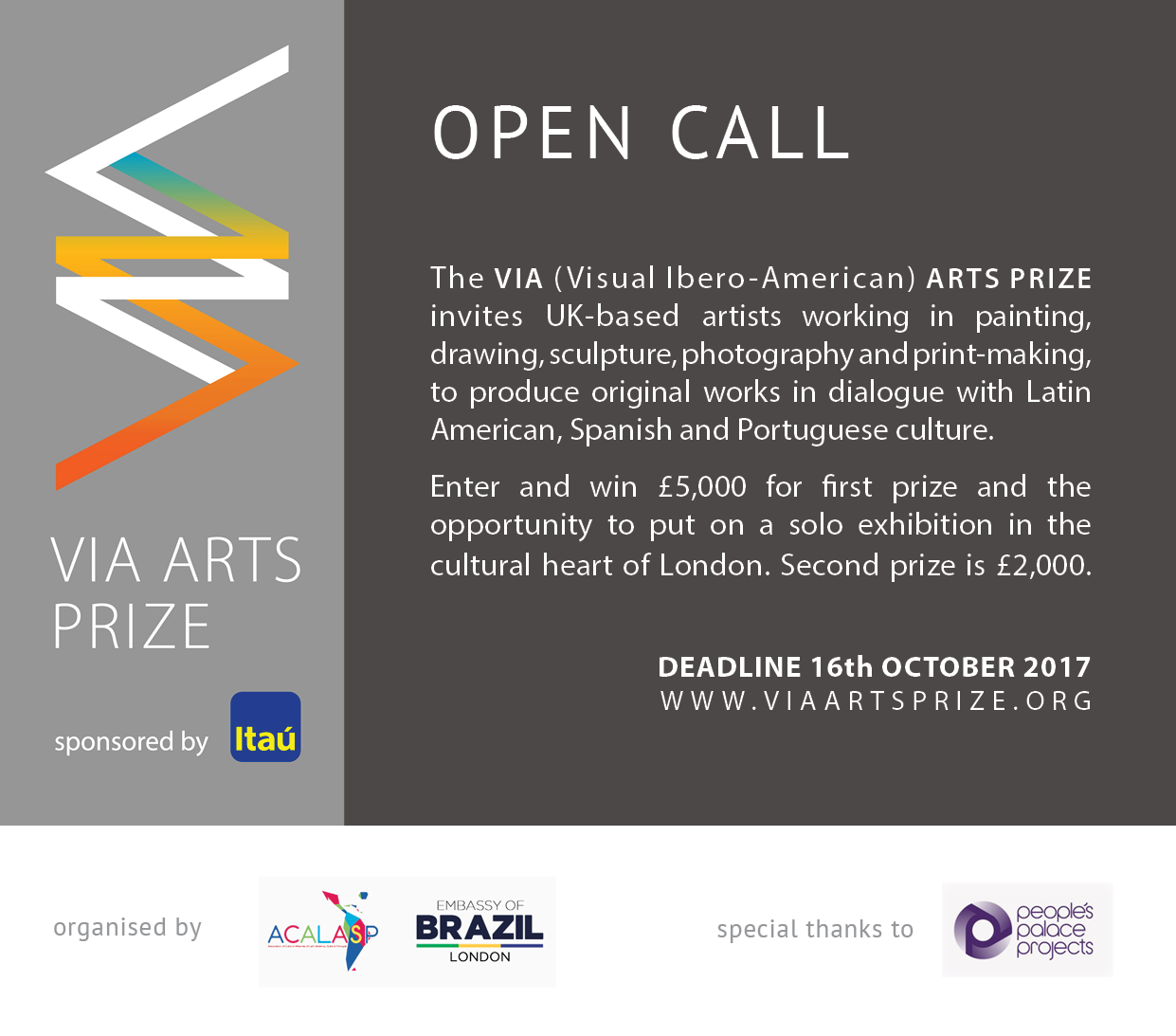 VIA Arts Prize 2017 Open Call Flyer