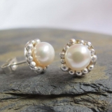 White pearl earrings- sterling silver and pearl earrings hand made in London