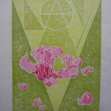 Anti-V Day Card . Two-Plate Reduction Relief Linoleum Print