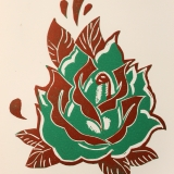 Tatoo Print- Flower 1 Green and Red