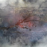Contemporary painting based on Cern footprints on dust sheets
