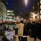 Shami Chakraberti & Natasha Walters present text outside Home Office, London