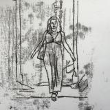 Tarique MI, Ksenia 2013, Black Ink Monoprint on A3 white paper