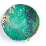 'Recollection series – Recollecting London' Brooch 5/100, Brass Patina, Steel, Silk & gold plated magnets, 50mm x 50mm, Photo: Claire Gill
