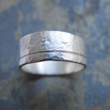 Men's silver band ring - Men's textured wedding band ring