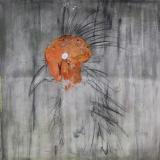 collage, acrylic, oil paint on canvas, H100cm x W100cm