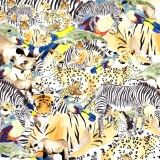 safari,animals, zebra, tiger, leopard, watercolour