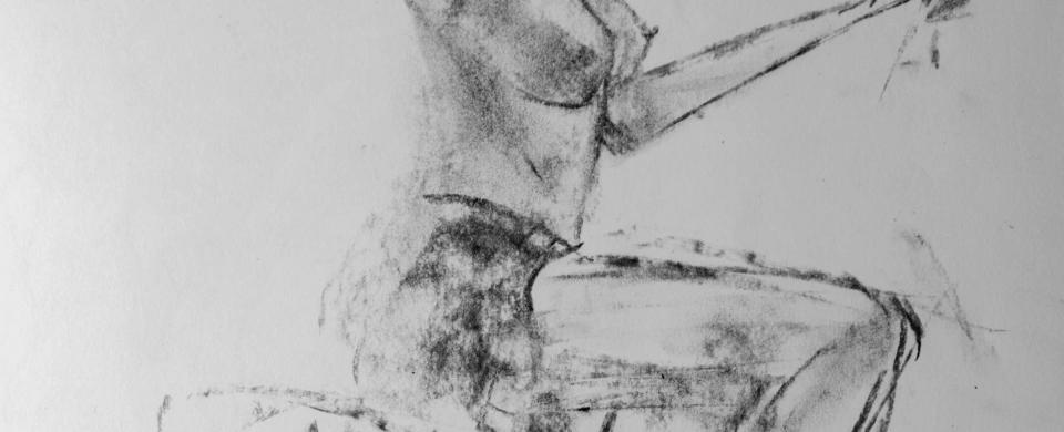 Mankoo with Hat, charcoal sketch by Jamie Zubairi
