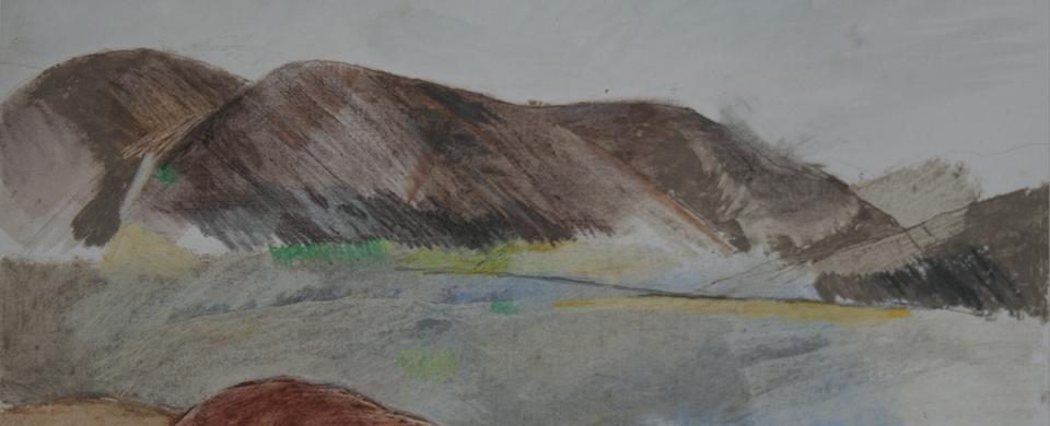 Cafe Tissardmine, oil pastel sketch